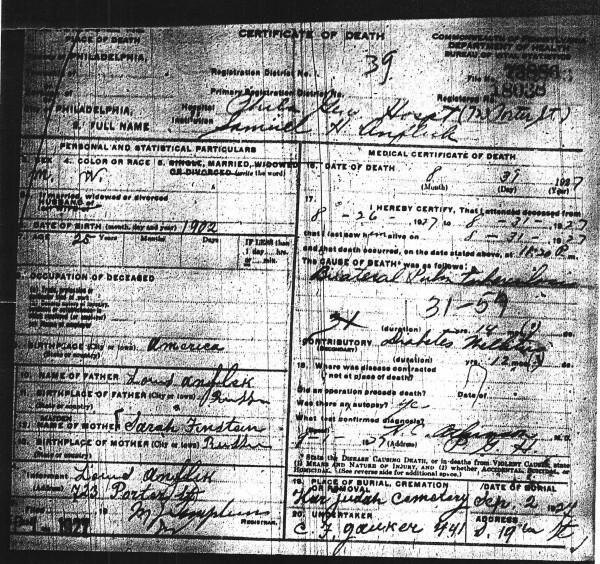 Samuel Anflick's Death Certificate, August 31, 1927.