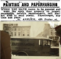 Henry Anflick's classified ad fromt he Philadelphia inquirer, 6/18/1921, and work vehicle.