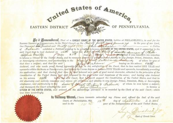 John Graham's duplicate naturalization certificate