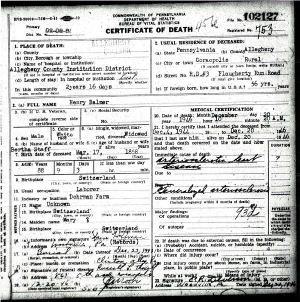 Henry Balmer's Death Certificate - 20-Dec-1946