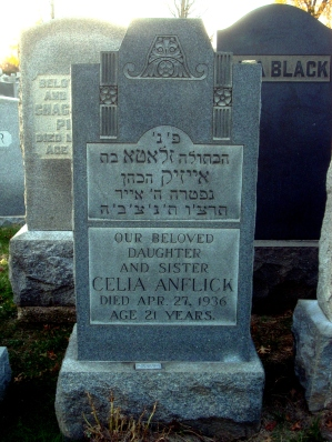 Celia's monument at Montefiore Cemetery.