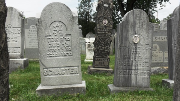 Aaron and Anna Schachter's final resting places. Note Anna's ceramic photo on the monument at right.
