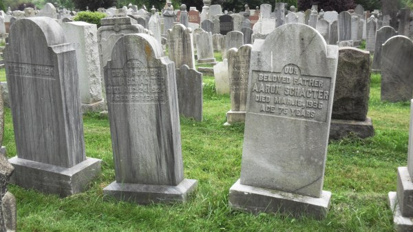 The reverse sides of the Schachter monuments. Anna at left, Aaron at right.